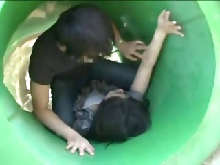Young Mother groped on a playground