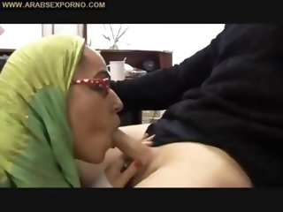 Arabian Muslim Girl in Green Arabic Islamic Hijab sucks a Small Three Inch Oriental Arab Penis