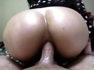 Asian anal fuck in polka dot dress and dirty ass to mouth POV