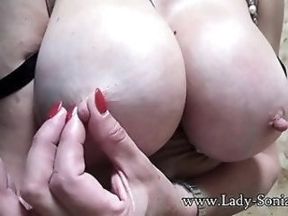 British babe Lady Sonia playing with her huge tits