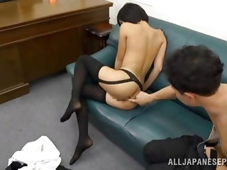 This Japanese slut tries out many sex positions with her boyfriend. she is looking hot wearing nothing but stockings. She sucks his cock and then take
