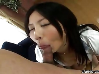 Big tits Asian babe hot handjob and ball lick