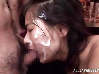 Hana is a Nippon beauty with a gorgeous round ass and a pretty face. She is being brutalized and dominated by these horny men that are eager to cum on