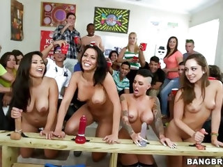 It's the best day of college yet. Four pornstars come to their campus just to fuck. Rachel Remy, Christy and Jessica fuck young college students