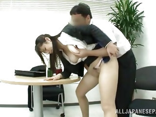 Seeing her so tired and bored, the guy decided to give this cutie some special attention. He touched her pretty face and asked her to suck his dick, s