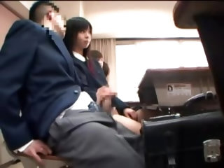Japanese Teens Makes Love With Hands In Classroom