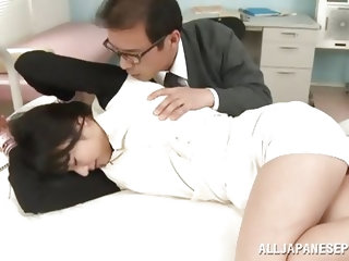 Kana Yume goes to the infirmary to play a little game with her teacher. The man comes in to check on her and finds the naughty schoolgirl with her han