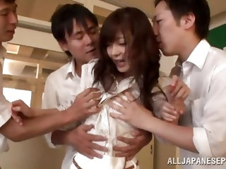 These three students get horny and accost to their teacher. Watch, as they pull her clothes off and grab at her boobs, and pussy. She struggles a bit,