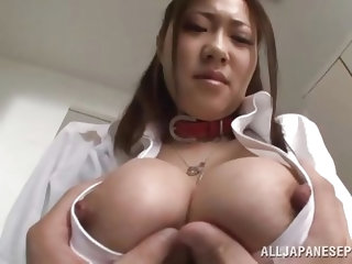Sayuki Kanno is getting ready for class when she sees one of her fellow teachers in the locker room. She sucks on his fingers and lets him undo her bl