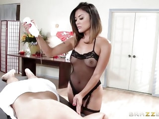 The hot Asian Masseuse rubs her hands and tits all over his oiled body, which makes him feel nice and relaxed. She firmly grabs his cock and tugs him