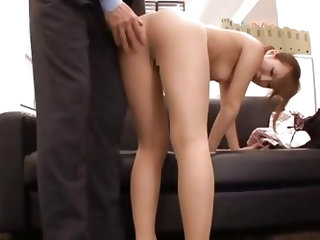 This office slut needs a hard fucking so her sever boss is about to solve that problem. At first he gropes and squeezes those small tits and then bend