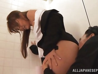 Seeing that Yuki is such a cute naive girl this guy dragged her into a public bathroom where he had some fun with her. There, He pulled down her nylon