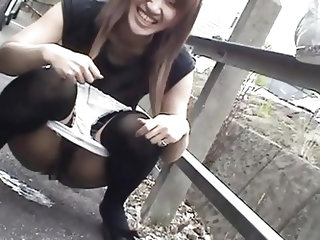 Dirty asian slut thinks pissing on the sidewalk is funny. Well japan is very civilize country and we don't tolerate something like that here. She