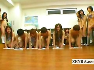 Japanese Nudist Students Kinky Oral Sex Cleaning Game