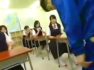 Asian Schoolgirls Playing With Dick,  Blowjob,  Cumshot